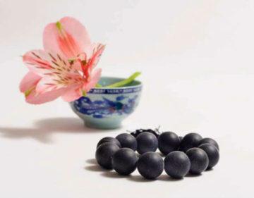 бяньши браслет черный с цветком